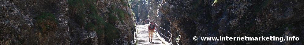 Sentiero dei tronchi (Itinerario dei tronchi) attraverso la Gola del Diavolo nello Sciliar (Foto: R. Jakubowski)