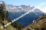 Blick auf den Rosengarten von der Hammerwand im Naturpark Schlern Rosengarten in Südtirol (Foto: Volker).