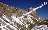 Großer Roßzahn (2.653) und Tierser Alpl Hütte (2.440 m) im Schlernmassiv (Foto: Volker).